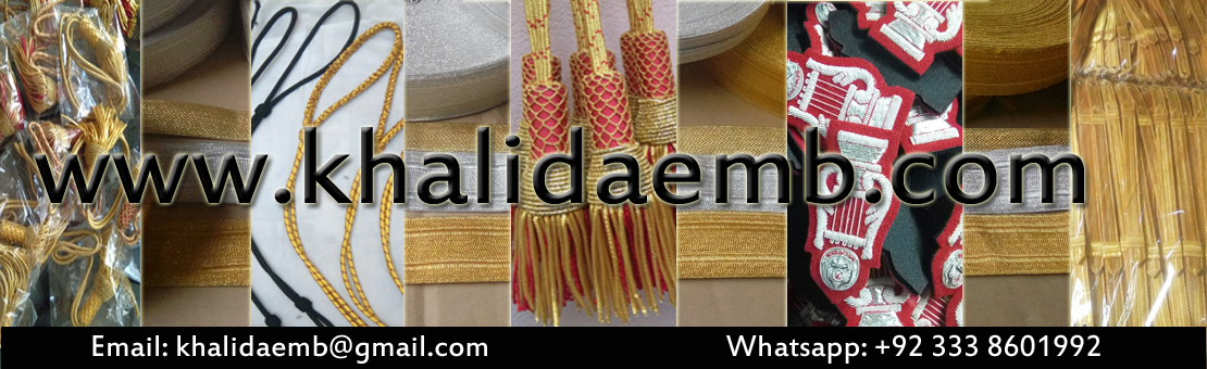 Manufacturer of Fashion and Military Uniform Accessories just like Aiguillettes in bullion wire, silk and Mylar lannyards cords braids laces badges shoulder cords cap cords epaulets sword knots caps hats chinstraps ranks whistle cords shoulder slides slips hand embroidery badges hand embroidery patches beaded brooches bullion wire brooch army navy air force badges insignia etc
